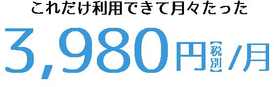 月々3980円(税別)
